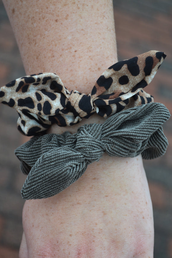 Leopard & Olive Scrunchies Set
