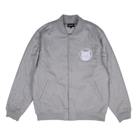 Stop Being A Pussy Varsity Jacket (Gray)