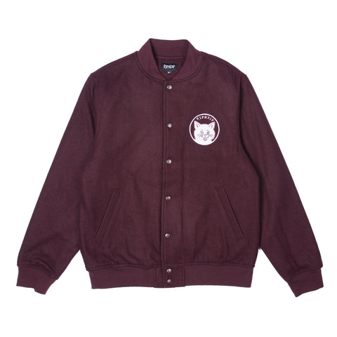 Stop Being A Pussy Varsity Jacket (Burgundy)