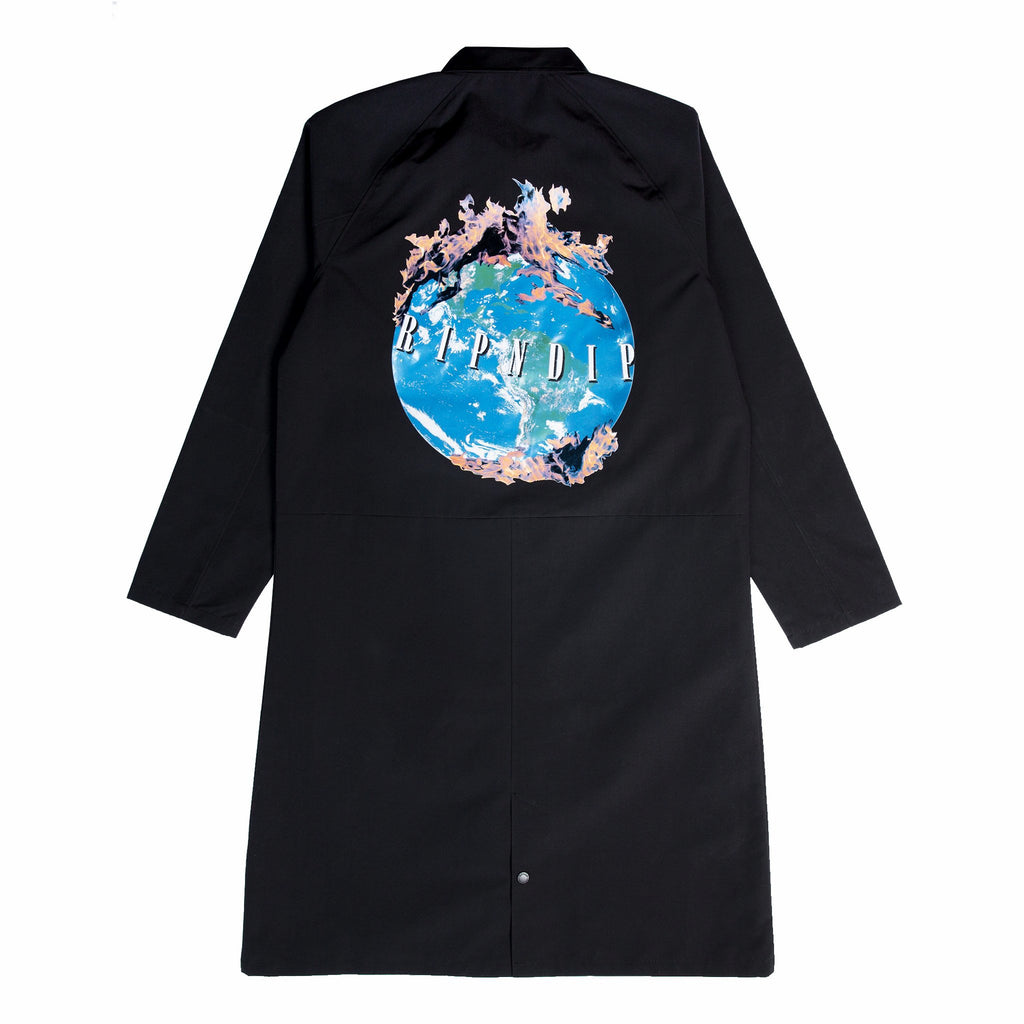 World On Fire Trench Coat (Black)