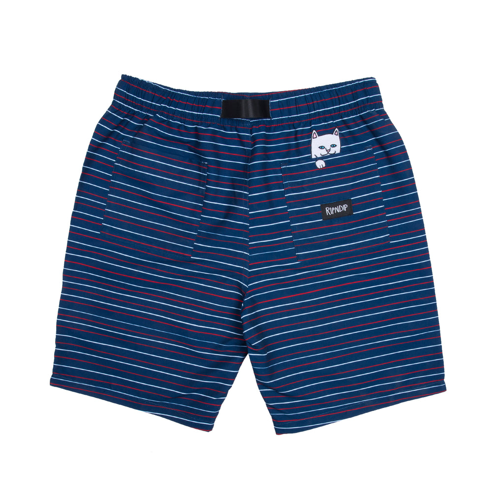 Peek A Nermal Nylon Belt Shorts (Navy / Red)