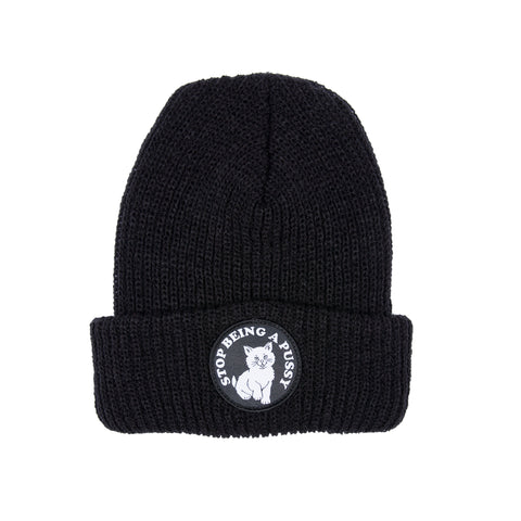 Stop Being A Pussy Ribbed Beanie (Black)