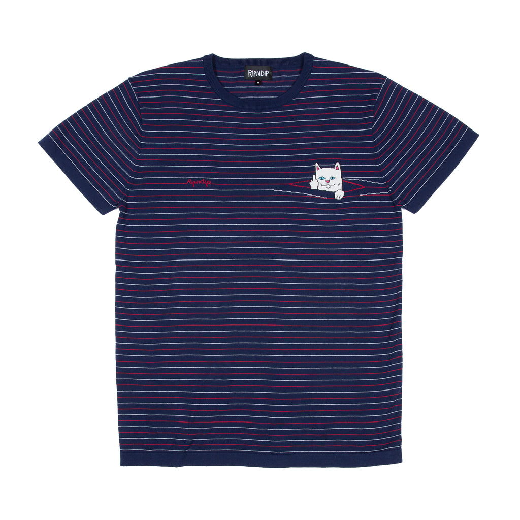 Peek A Nermal Knit Tee (Navy / Red)