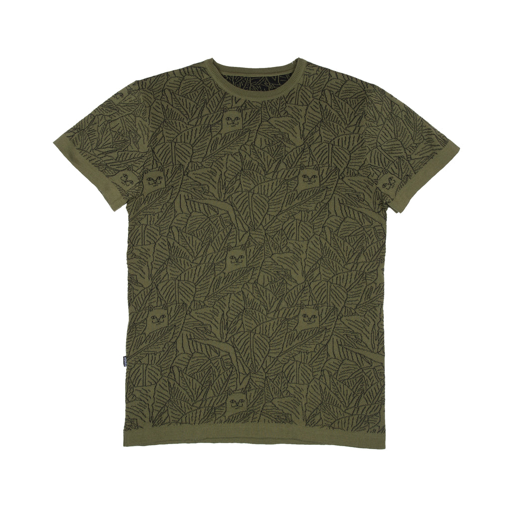 Nermal Leaf Knit Reversible Tee (Olive / Black)
