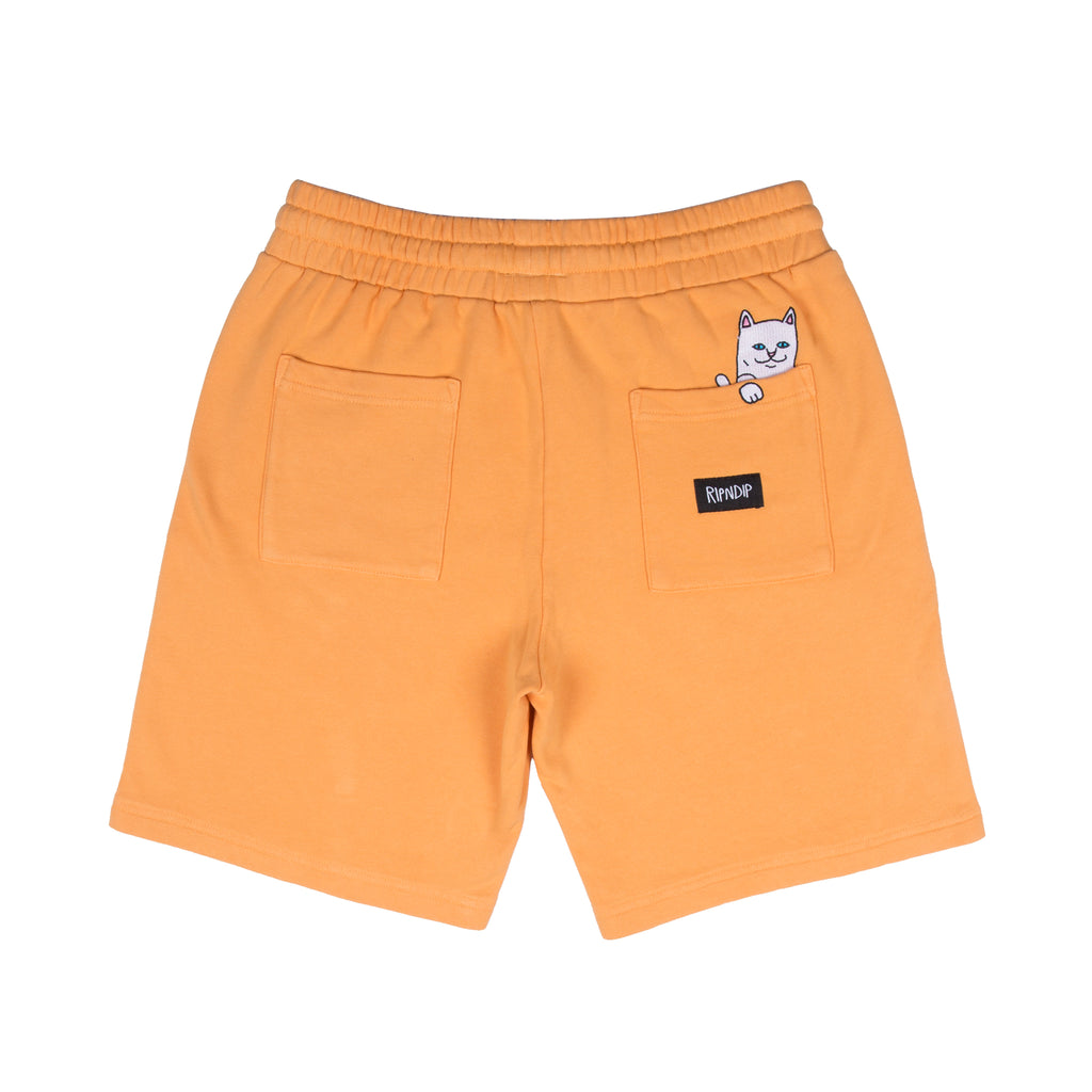 Peek A Nermal Over Dye Sweat Shorts (Orange)