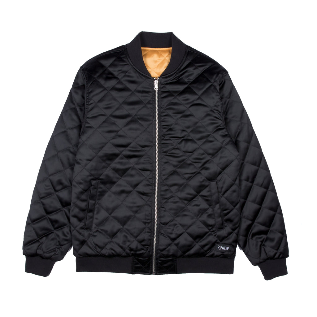 Praying For Nermal Quilted Reversible Jacket (Black / Yellow)