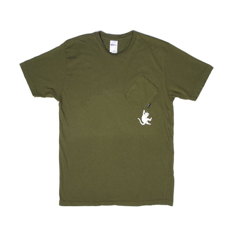Hang In There Pocket Tee (Army Green)