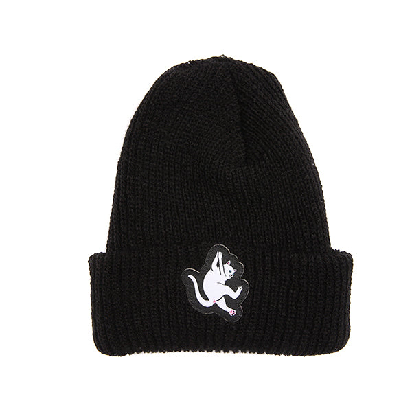 Hang In There Ribbed Beanie (Black)