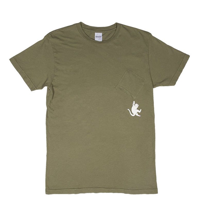 Hang In There Pocket Tee (Moss)
