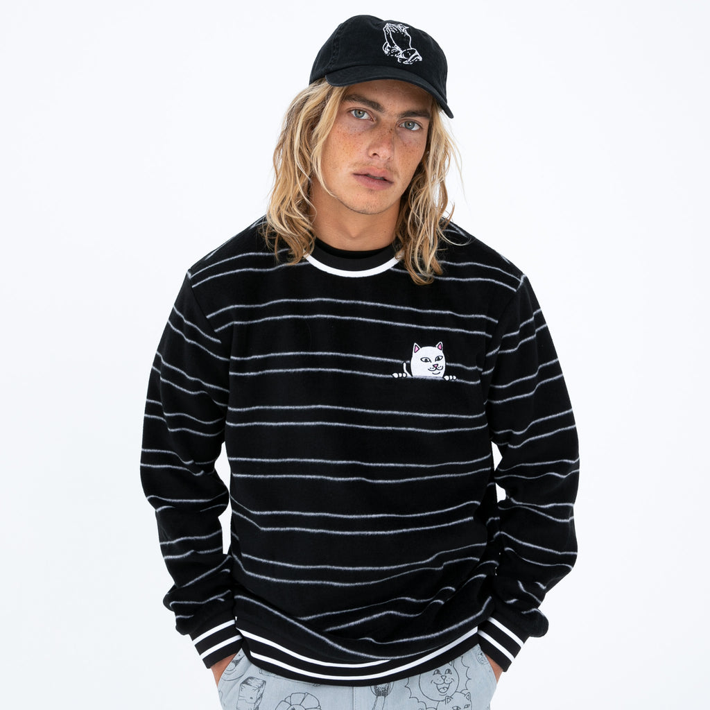 Peeking Nermal Polar Fleece Crewneck (Black)