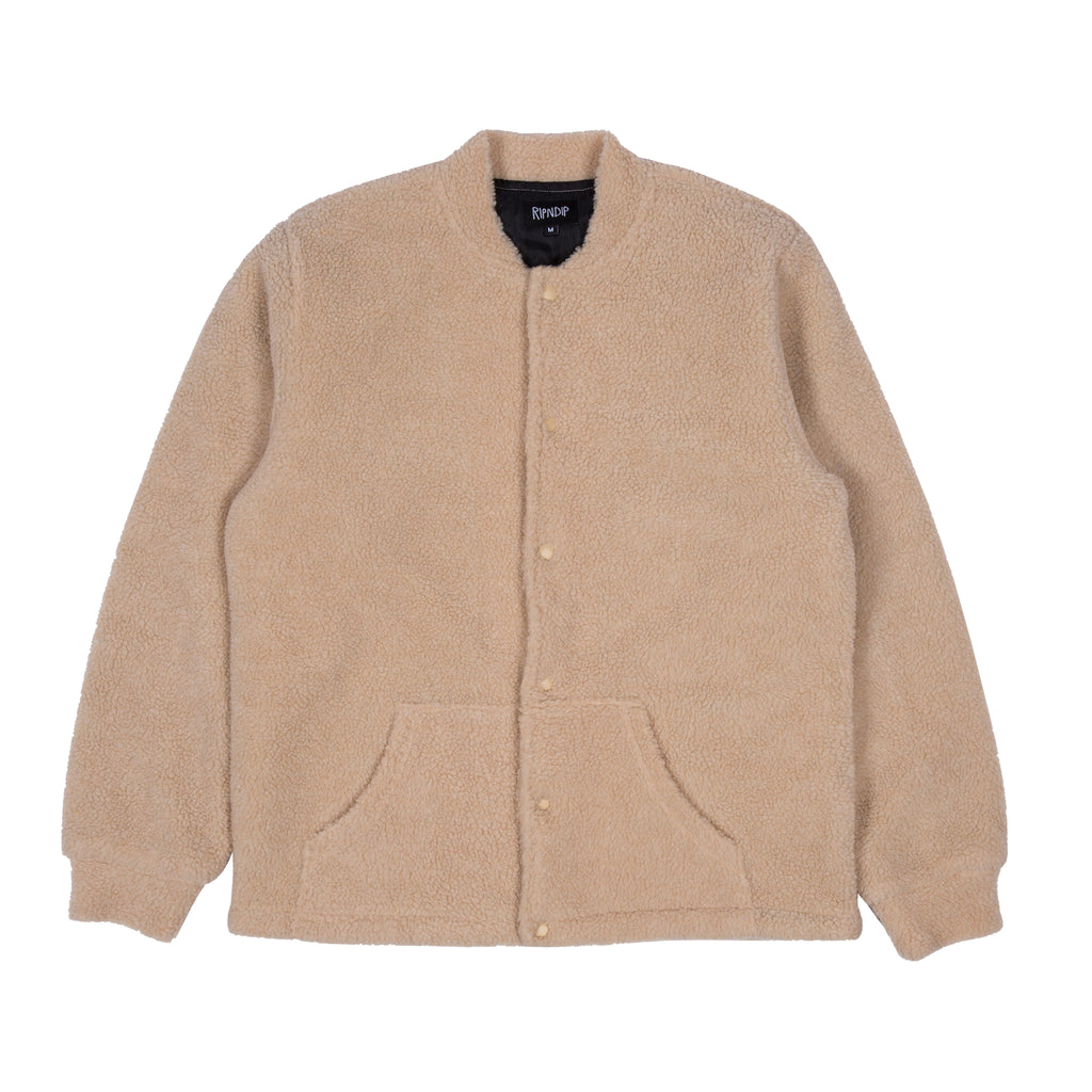 Pill Sherpa Varsity Jacket (Tan)