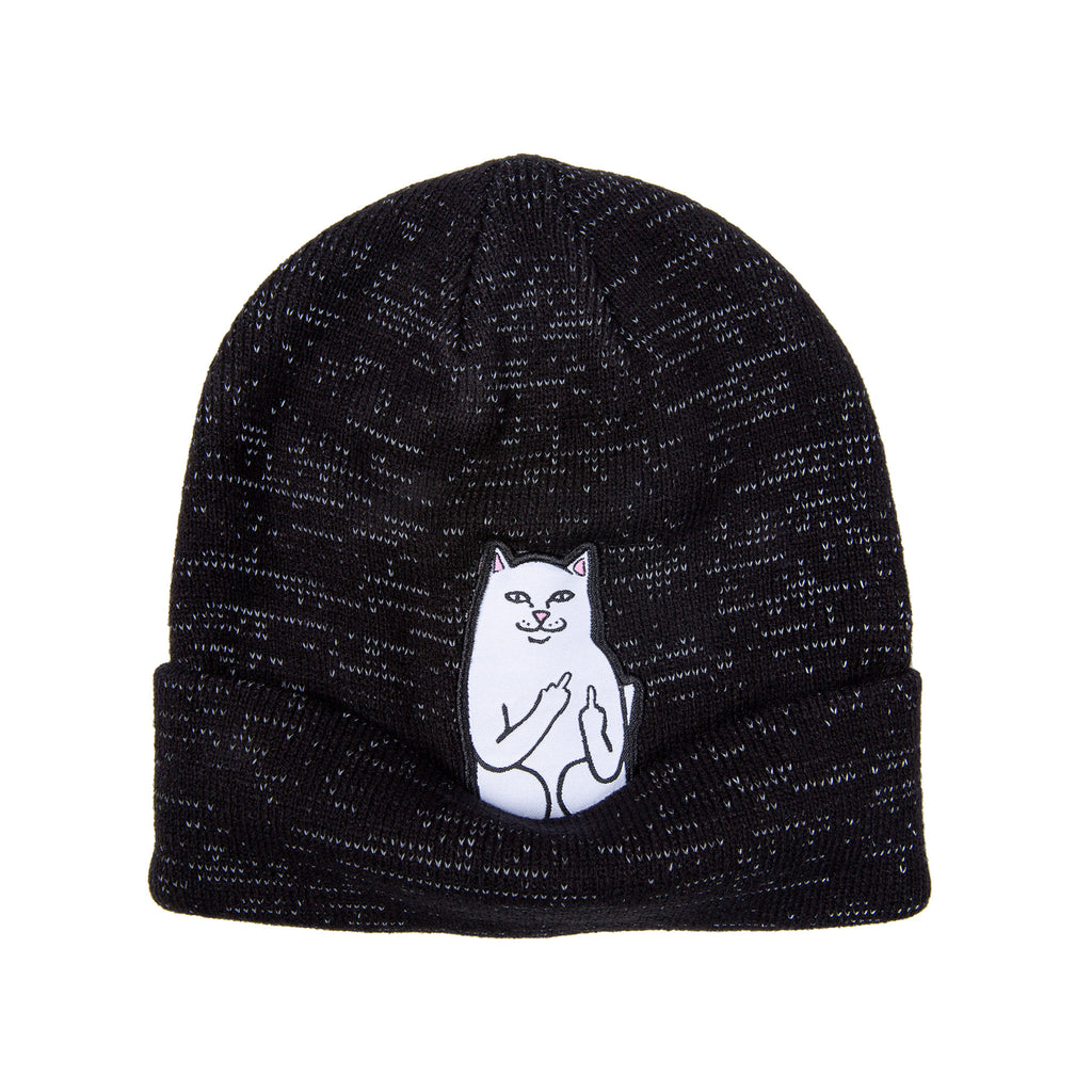 Lord Nermal Ribbed Beanie (Black Reflective Yarn)