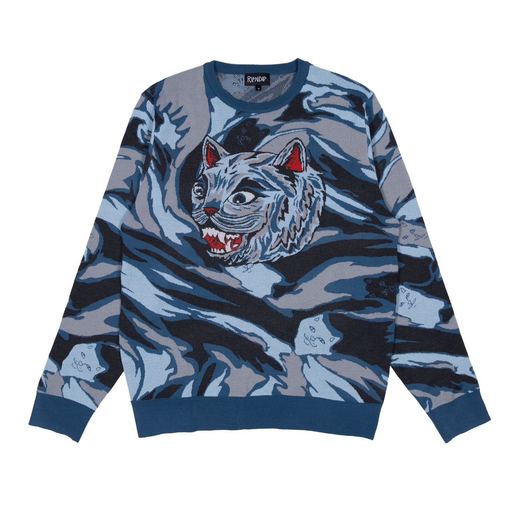 Tiger Nerm Knit Sweater (Light Blue Camo)