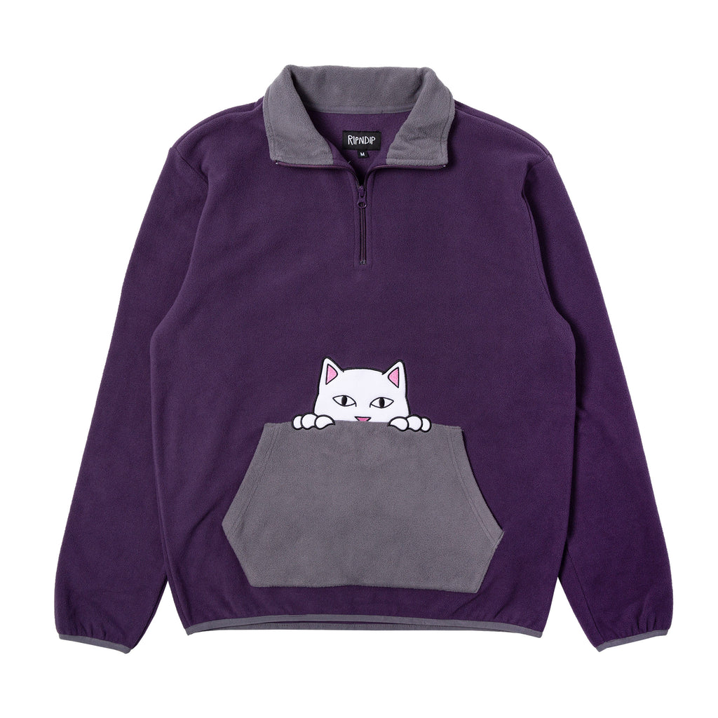 Peek A Nermal Brushed Fleece 3/4 Zip Sweater (Purple / Gray)