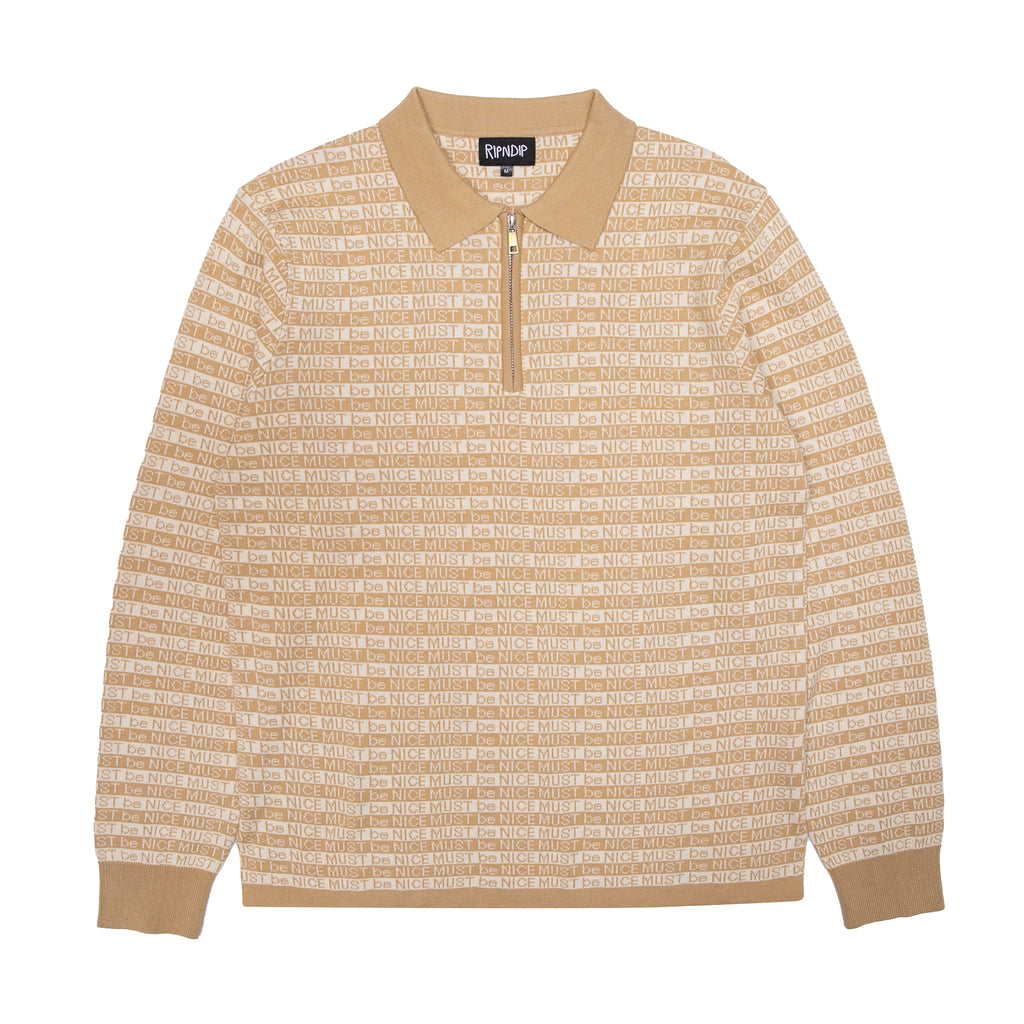 MBN 3/4 Zip L/S Rugby (Tan)