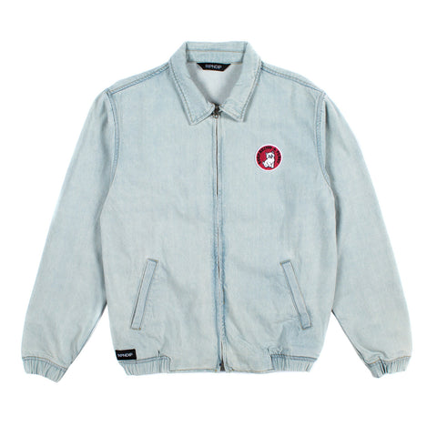 Stop Being A Pussy Denim Jacket (Light Denim)