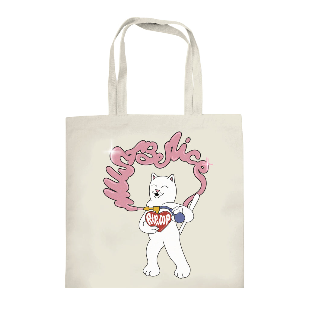 Must Be Nice Heart Tote Bag (Natural Canvas)