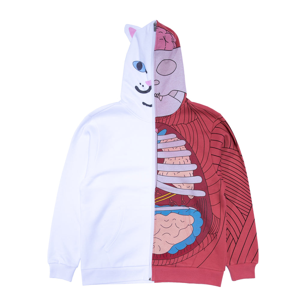 Nerm Anatomy Full Zip Hoodie (White/Red)