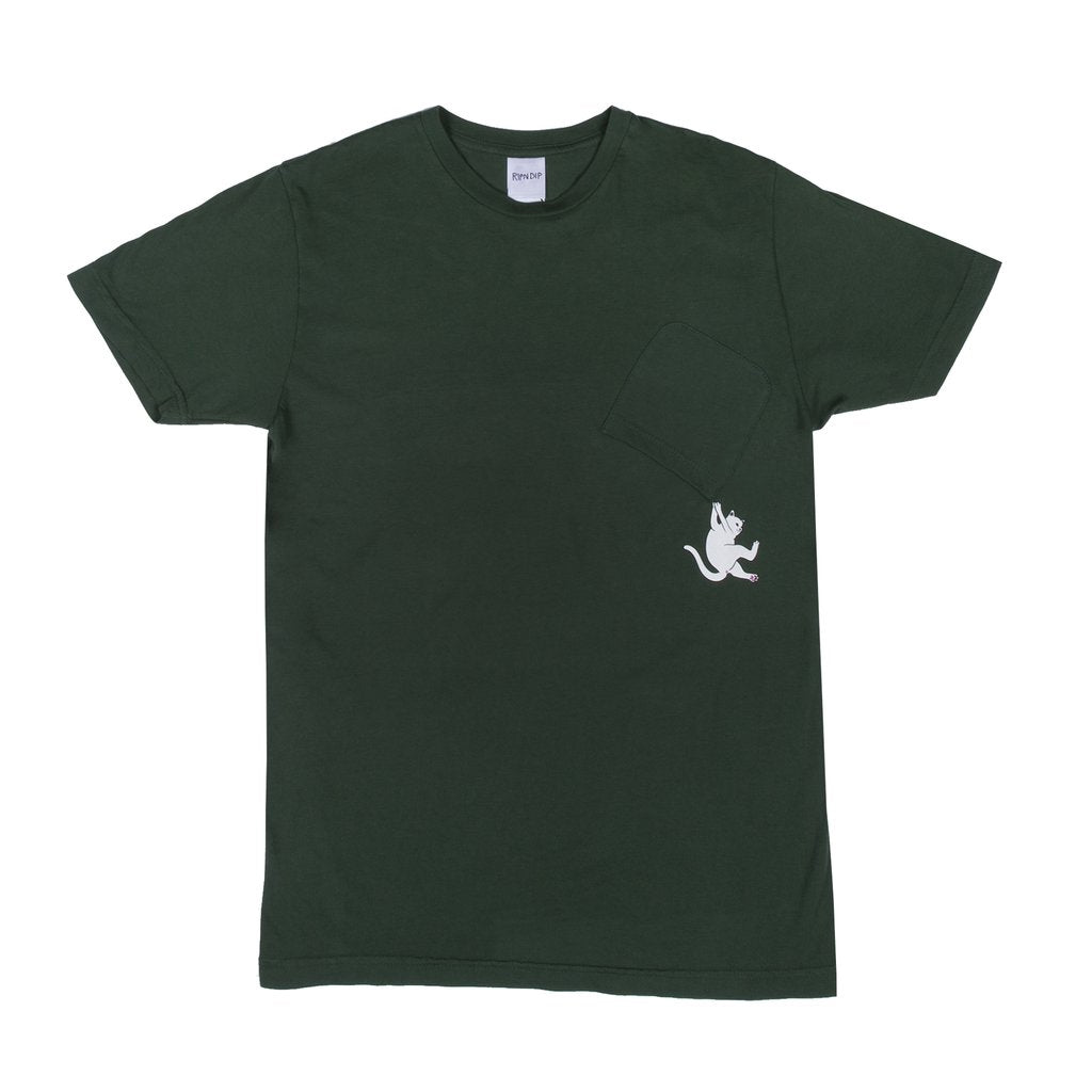 Hang In There Pocket Tee (Hunter Green)