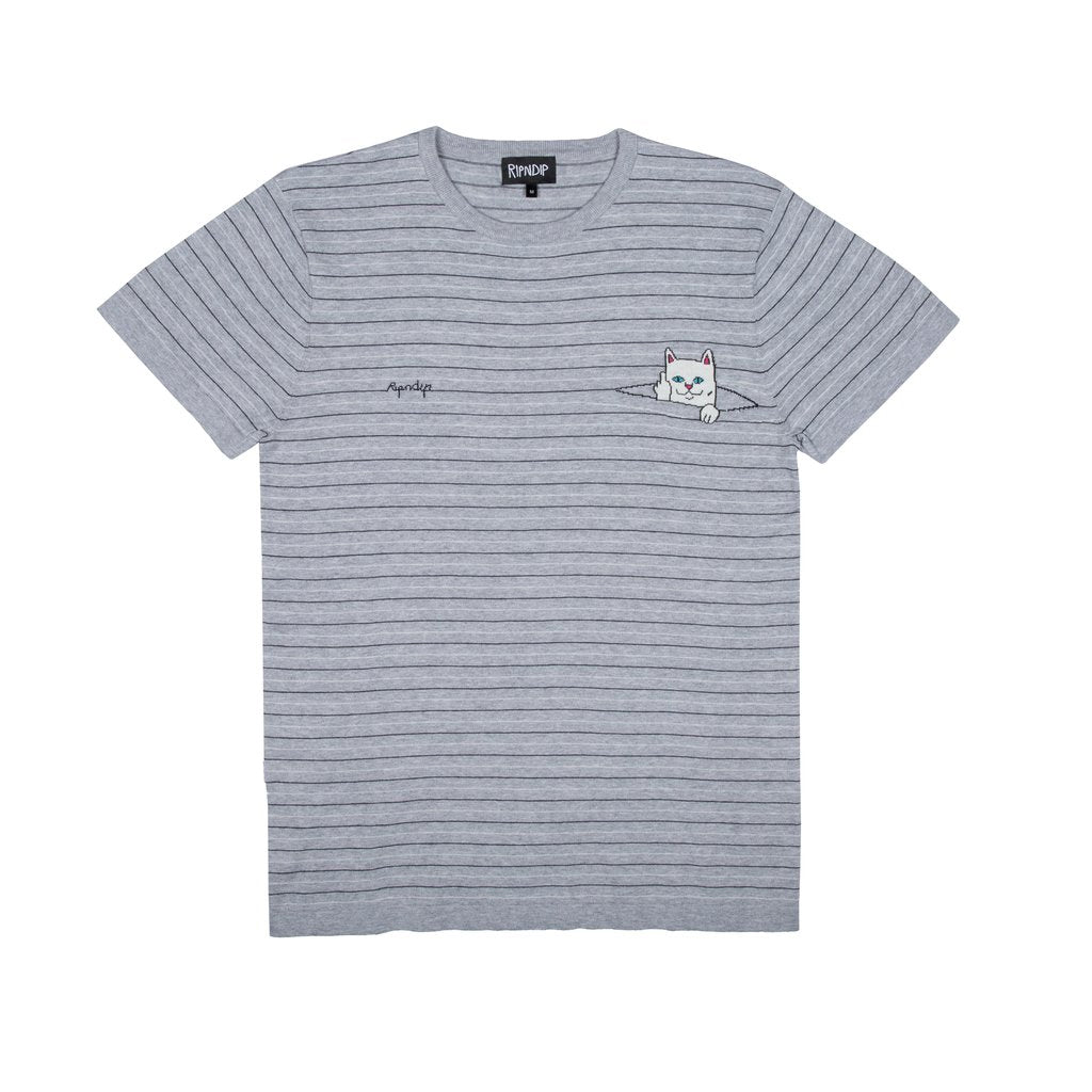 Peek A Nermal Knit Tee (Black / Gray)