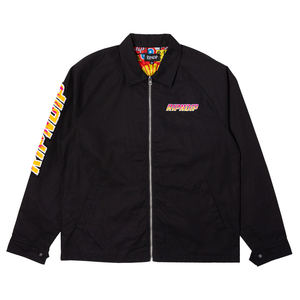 Racing Team Cotton Twill Coach Jacket (Black)