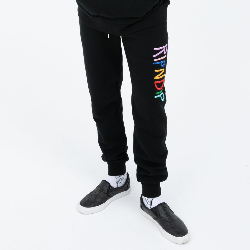 RIPNDIP Multi Color Logo Sweat Pants (Black)