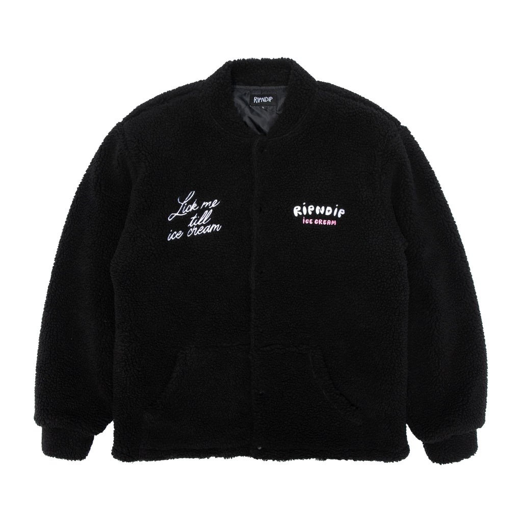 Lick Me Till Ice Cream Sherpa Jacket (Black)