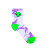 We Out Here Mid Socks (Purple Tie Dye)