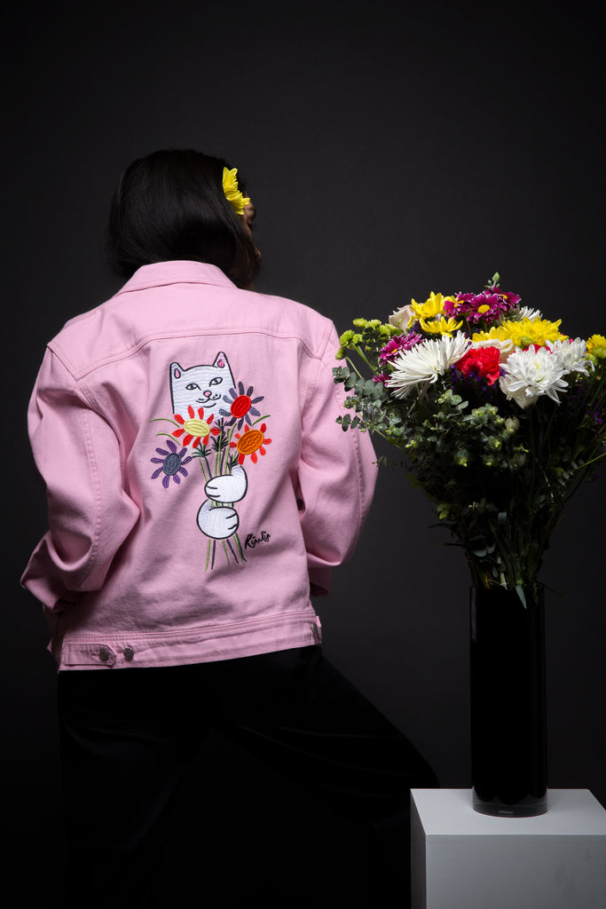Nermcasso Flower Denim Jacket (Pink)