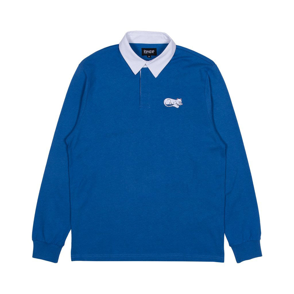RIPNTAIL Rugby Long Sleeve Polo (Navy / White)