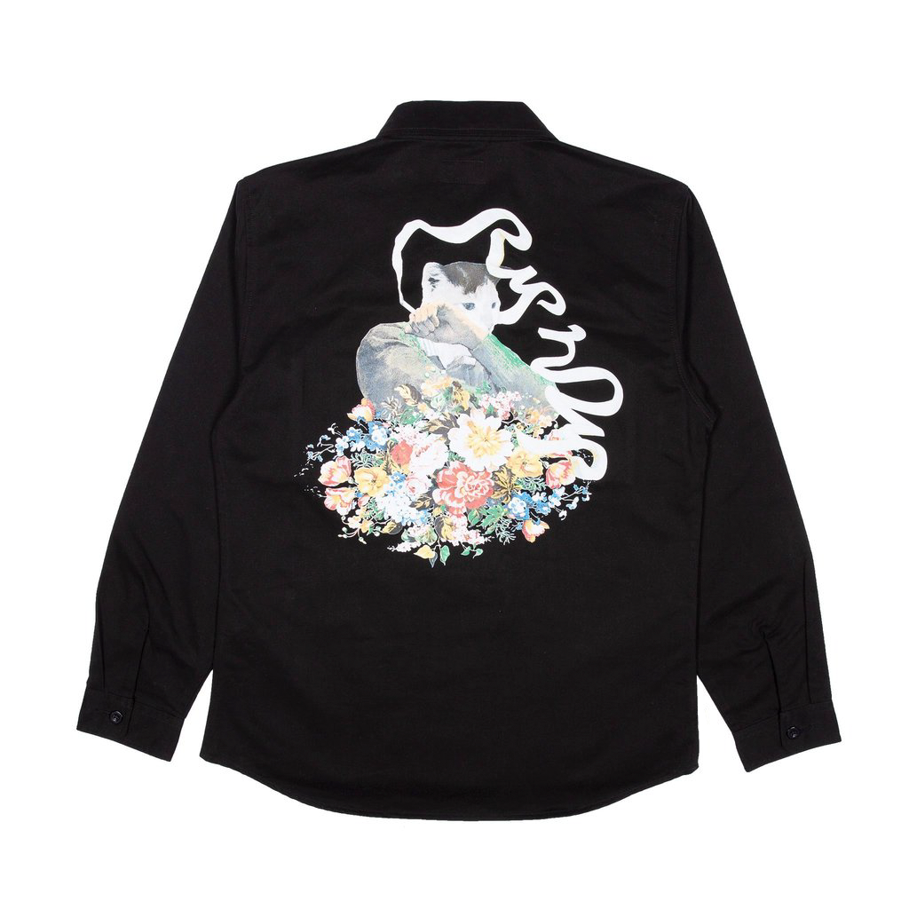 Flower Burst Cotton Work Shirt (Black)