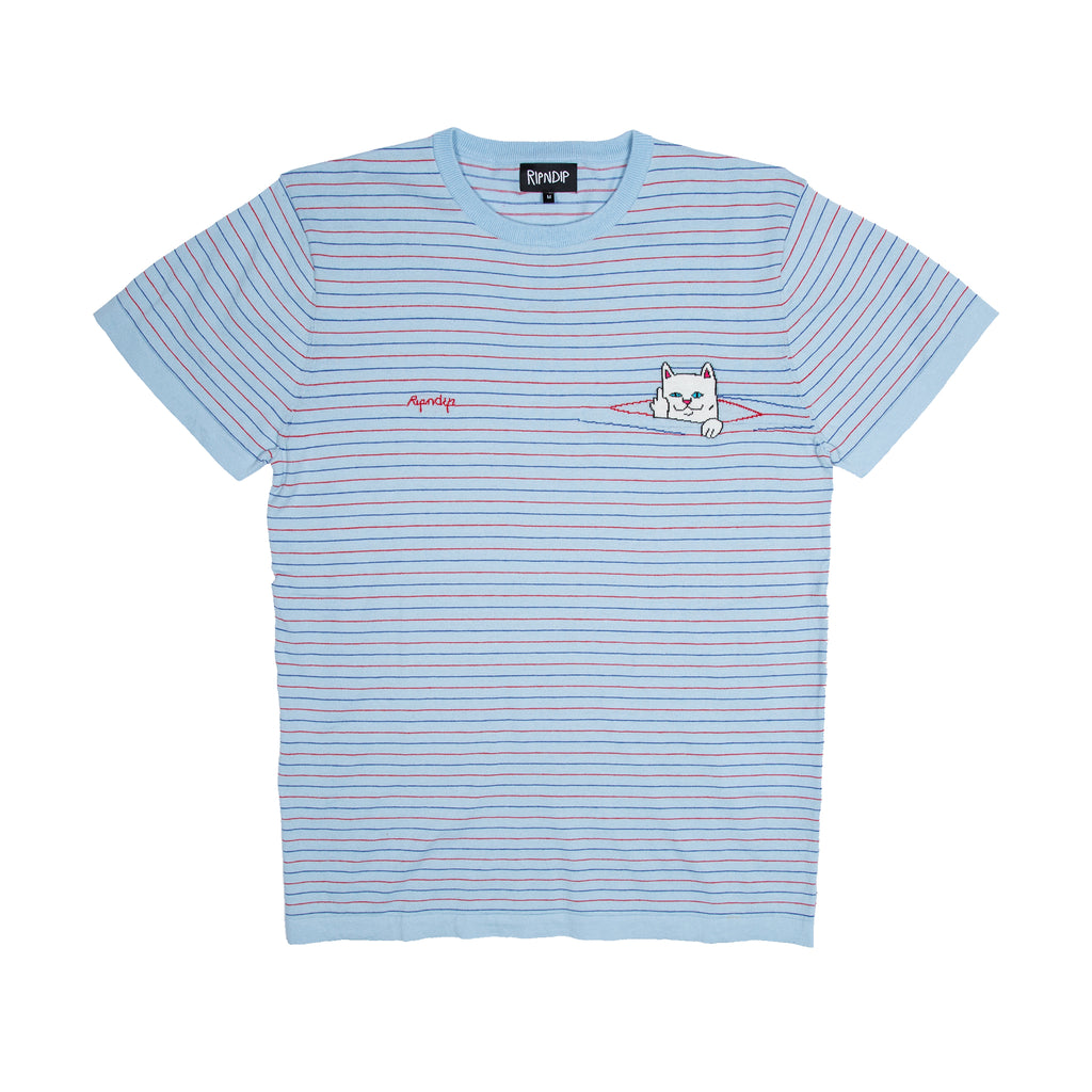 Peek A Nermal Knit Tee (Baby Blue / Red)