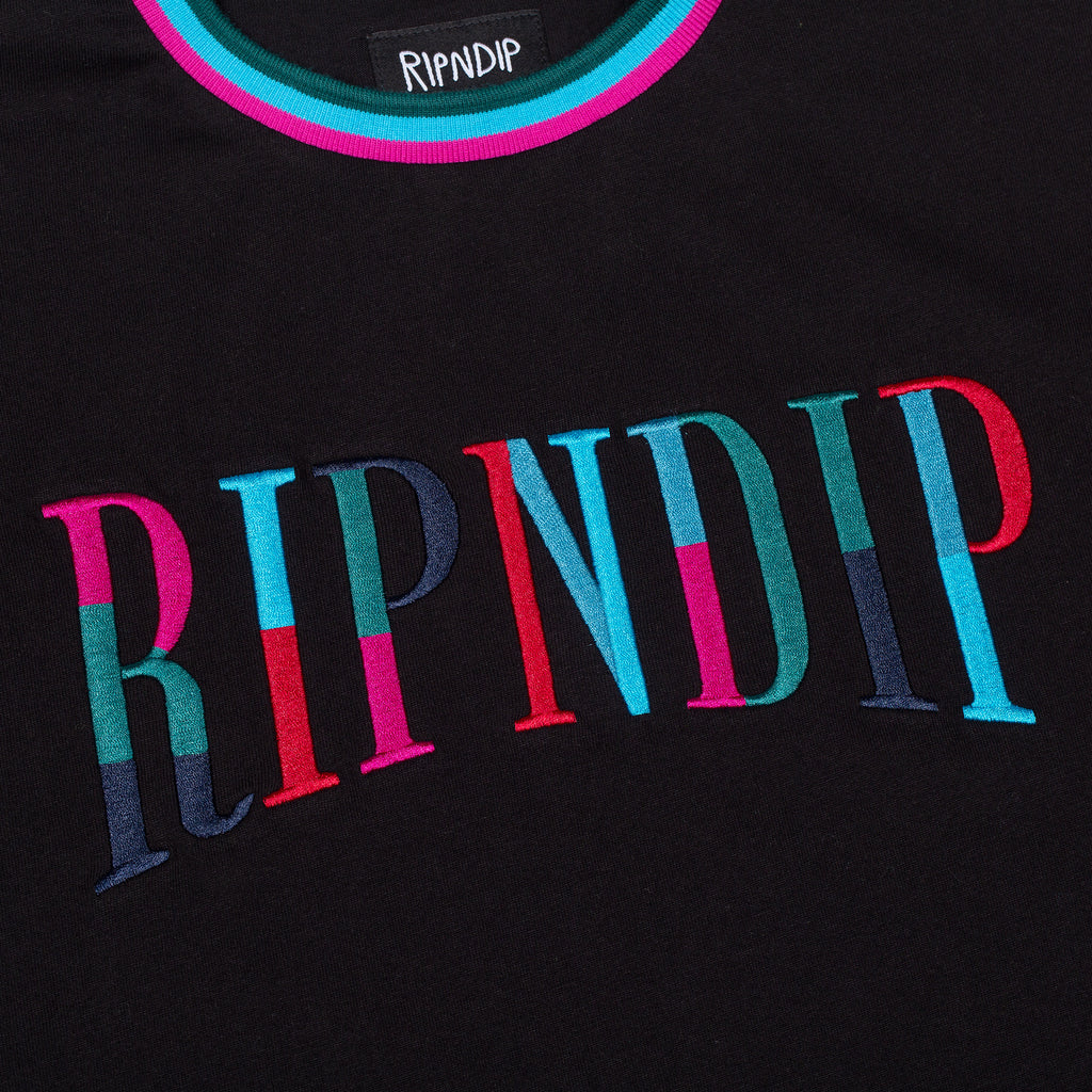 Color Block Embroidered Tee (Black)