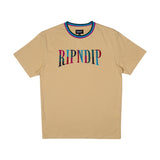 Color Block Embroidered Tee (Tan)