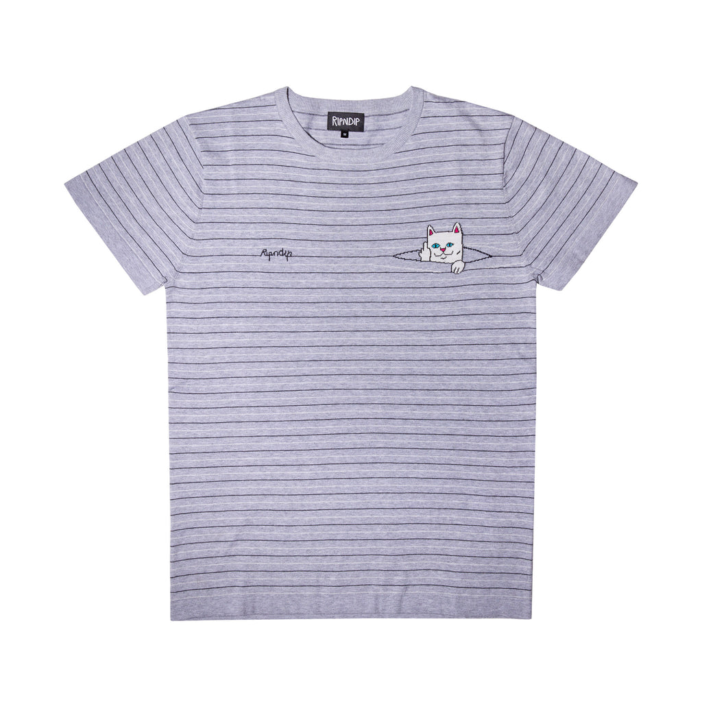 Peek A Nermal Knit Tee (Gray / Black)