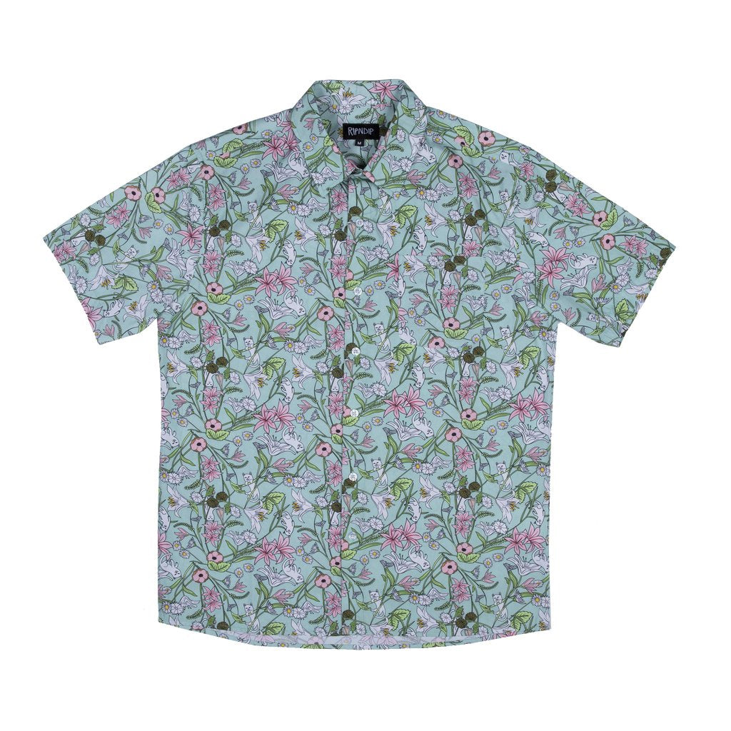Nermal Floral S/S Button Up (Aqua)