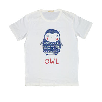 T-shirt Owl's Vest Knitting Tops tees outfits Unisex Round neck