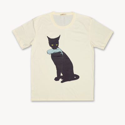 T-shirt Black Cat & Whale Tops tees outfits Unisex Round neck - craft-more-store