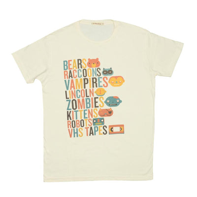 T-shirt Retro Bear and Friend Letter in mood of color Tops tees outfits Unisex Round neck