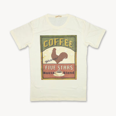 T-shirt Coffee five stars House of Blend morning Rooster Tops tees outfits Unisex Round neck