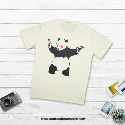 T-shirt Panda Guns Tops tees outfits Unisex Round neck