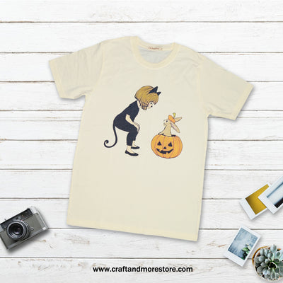 T-shirt Halloween Cat Woman Tops tees outfits Unisex Round neck