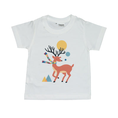 T-shirt Deer with scarf Tops tees outfits Unisex Round neck