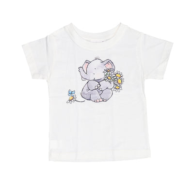 T-shirt Elephant Flower Tops tees outfits Unisex Round neck