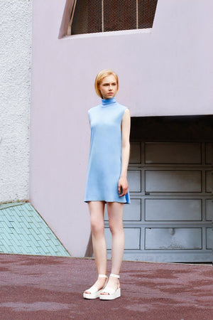 PASTEL BLUE BABY DOLL 60'S TURTLE NECK DRESS