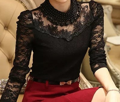 Baby Pearl Vintage Lace Blouse Black