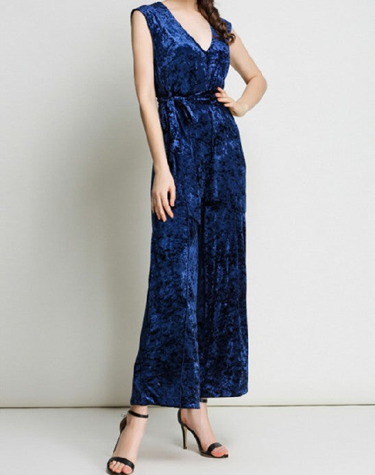 Glamed Velvet Luxe Jumpsuit Blue