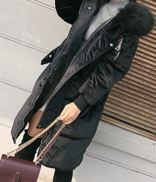 Velvet Hooded Coat Black