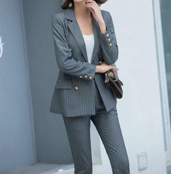 Ema Pinstripe Suit Grey