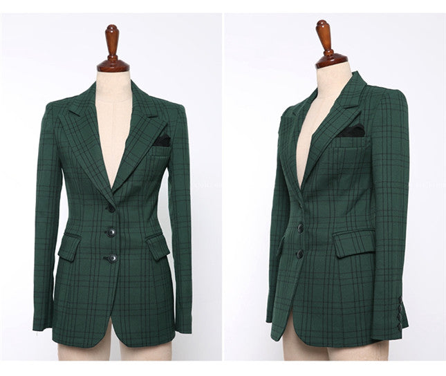 Camron Plaid Suit Green